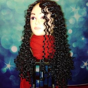 Long black tight curly wig Q T 500